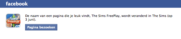 De Sims 3 Facebook verandert een boel namen?
