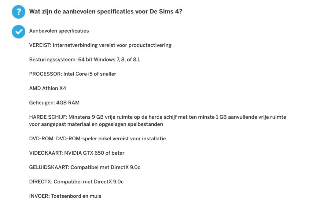 Aanbevolen specificaties De Sims 4