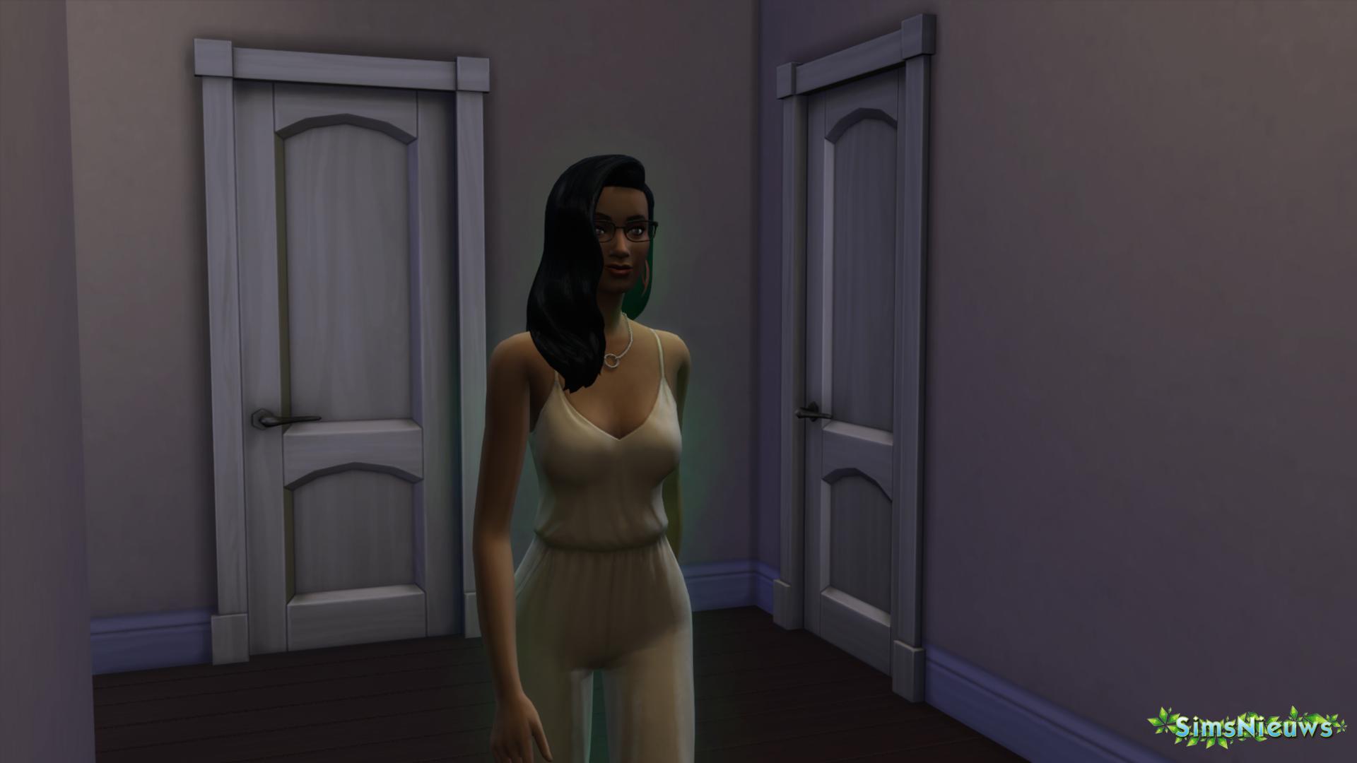 De groene gloed verraadt dat deze Sim een alien is.