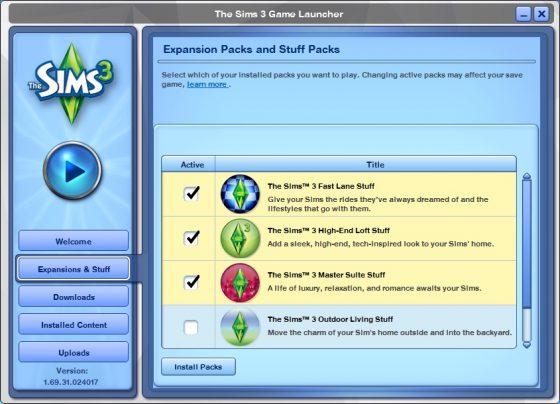 De Sims 3: Uitbreidingspakket- en Accessoirespakketmanager!