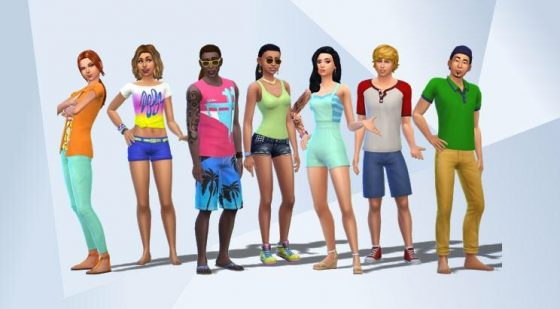 Het 'Chill Out With Friends'-huishouden zoals te zien was in de trailer van De Sims 4 Achtertuin Accessoires