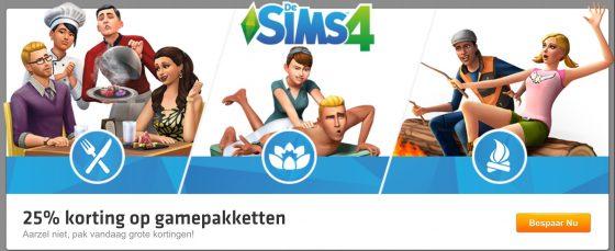 Origin: 25% korting op alle Game Packs van De Sims 4
