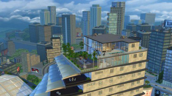 Penthouses bieden vaak een prachtig uitzicht aan Sims die het kunnen betalen