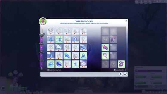 SN Review: De Sims 4 Vampieren - Vampierkrachten menu