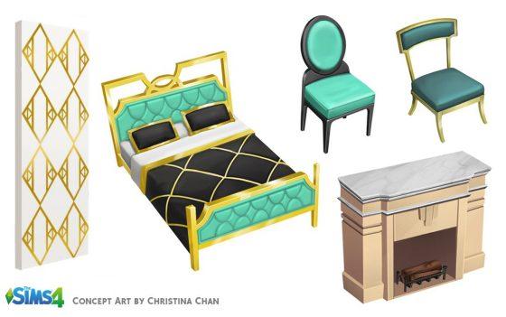 De Sims 4 Vintage Glamour Accessoires: Concept Art