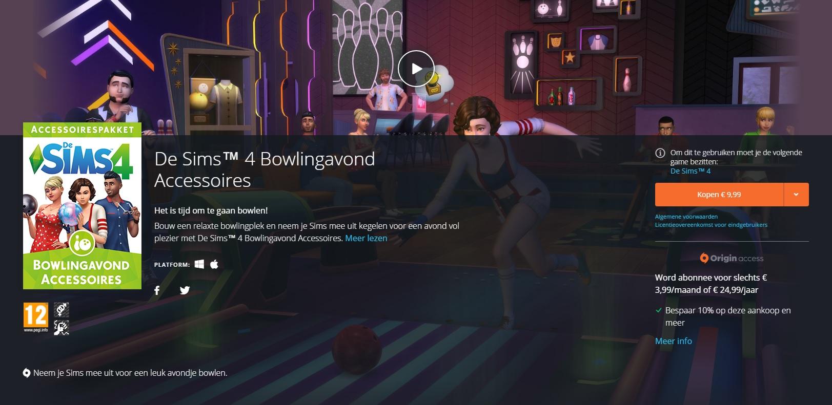 De Sims 4 Bowlingavond Accessoires vanaf nu verkrijgbaar op Origin