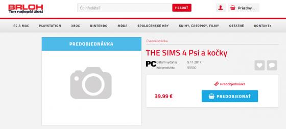 Slowaakse webshop toont De Sims 4 Honden en Katten