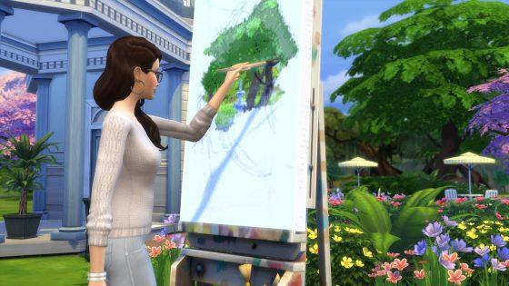 Schilderen oefenen in het Magnoliabloesem park