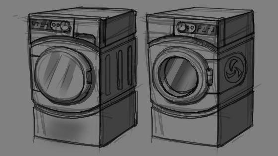 Concept art van de wasmachine en droger