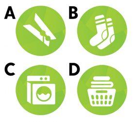 De verschillende mogelijke icoontjes van De Sims 4 Wasgoed