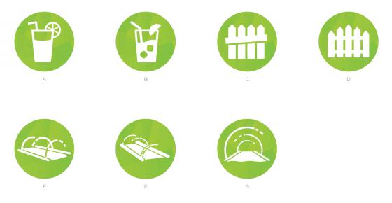 De verschillende mogelijke icoontjes van De Sims 4 Achtertuin Accessoires