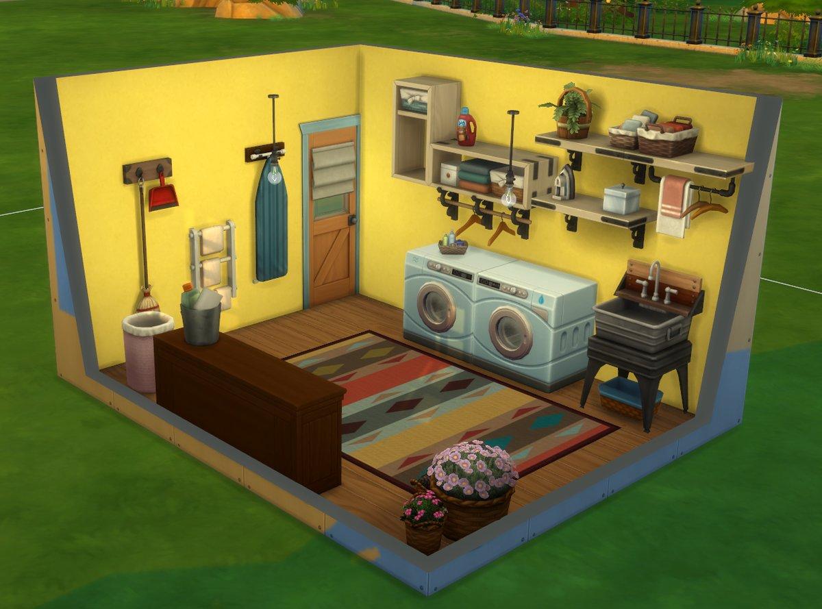 Een van de ingerichte ruimtes uit De Sims 4 Wasgoed Accessoires