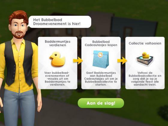 Bubbelbad Droomevenement begonnen in De Sims Mobile