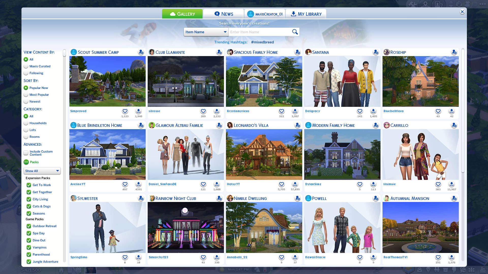 De Sims 4 Galerij update juli 2018