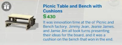 Picnic Table and Bench with Cushions