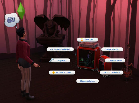 Luister naar metal tijdens het breien in De Sims 4 Uitgebreid Breien