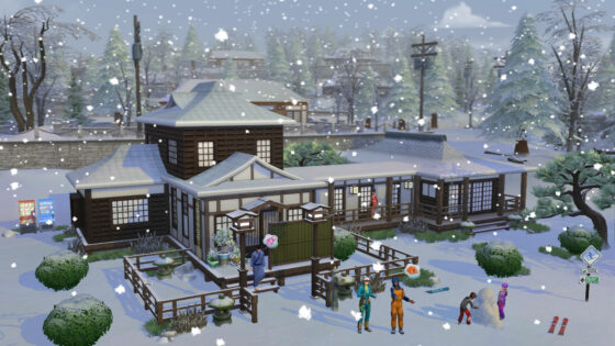 Bekijk hoe EA Game Changers Mt. Komorebi vorm hebben gegeven in De Sims 4 Sneeuwpret