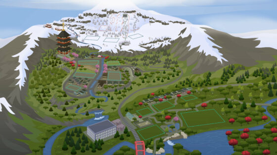 Interactieve wereldkaart van Mt. Komorebi uit De Sims 4 Sneeuwpret